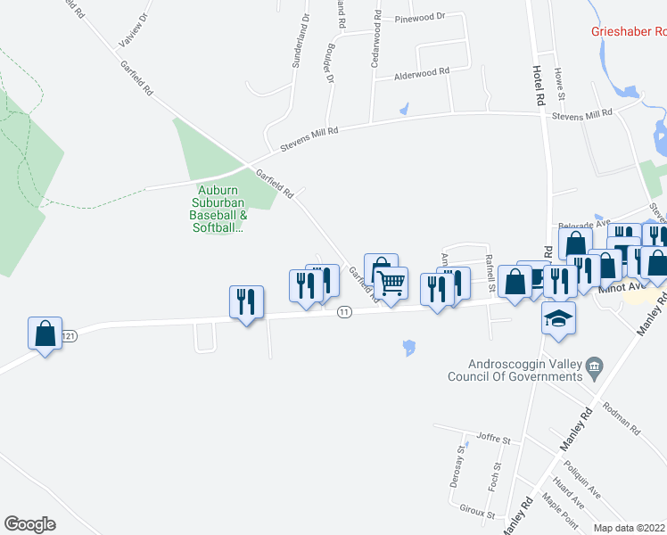 map of restaurants, bars, coffee shops, grocery stores, and more near 9 Sterling Road in Auburn