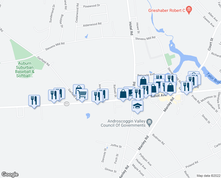 map of restaurants, bars, coffee shops, grocery stores, and more near 31 Oxford Street in Auburn