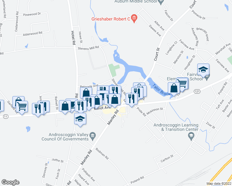 map of restaurants, bars, coffee shops, grocery stores, and more near in Auburn