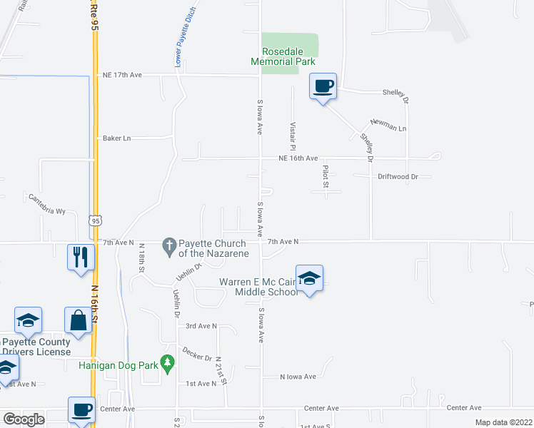 map of restaurants, bars, coffee shops, grocery stores, and more near 10056 North Iowa Avenue in Payette