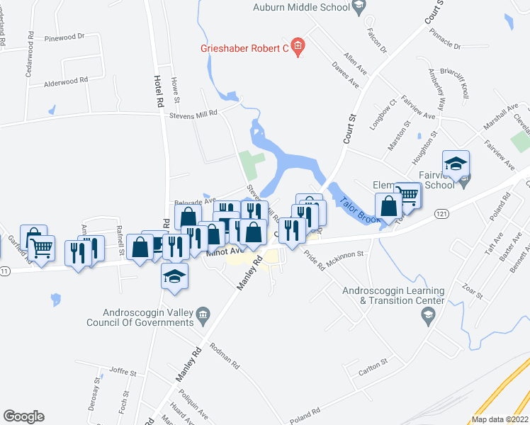 map of restaurants, bars, coffee shops, grocery stores, and more near 40 Millbrook Lane in Auburn