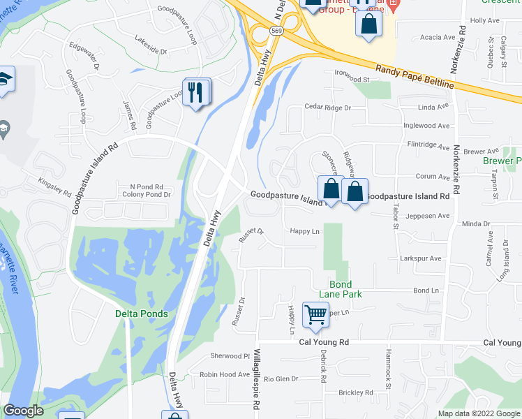 map of restaurants, bars, coffee shops, grocery stores, and more near 1834 Happy Lane in Eugene