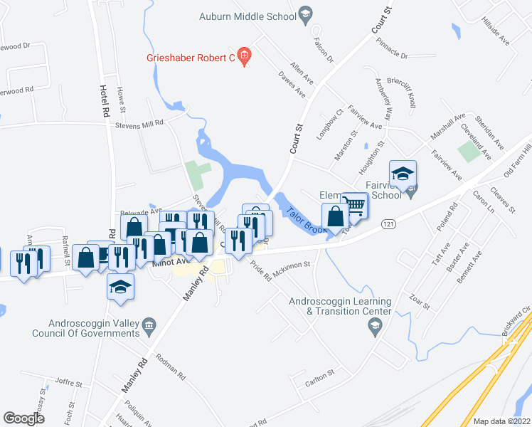map of restaurants, bars, coffee shops, grocery stores, and more near 41 Millett Drive in Auburn
