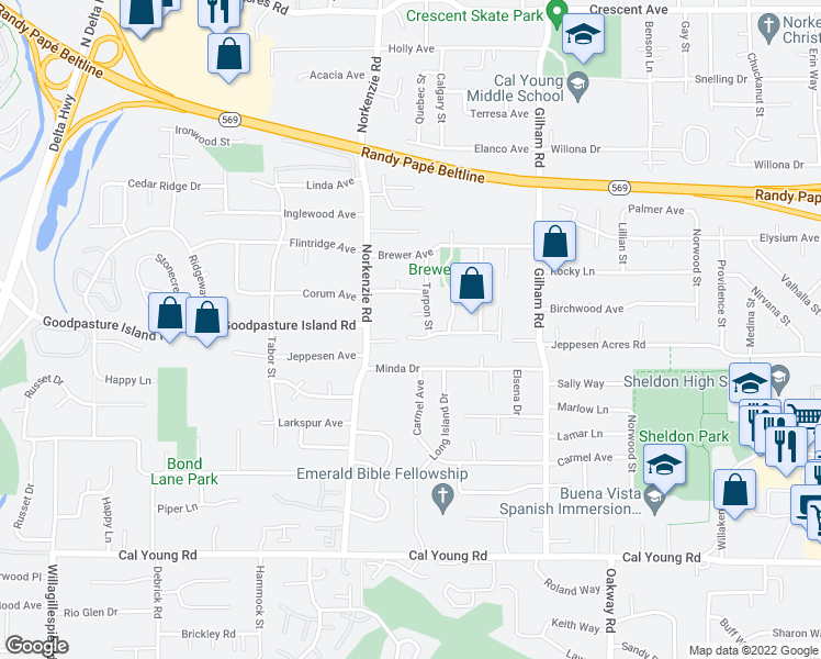 map of restaurants, bars, coffee shops, grocery stores, and more near 1735 Lemming Avenue in Eugene