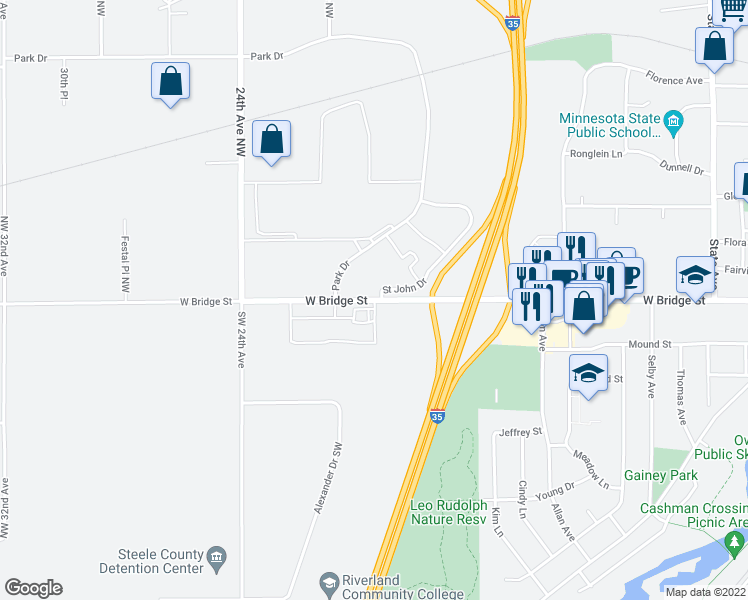 map of restaurants, bars, coffee shops, grocery stores, and more near 150 Saint John Drive in Owatonna