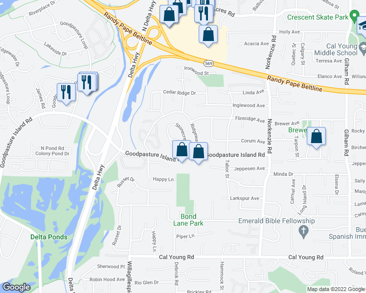 map of restaurants, bars, coffee shops, grocery stores, and more near 2189 Stonecrest Drive in Eugene