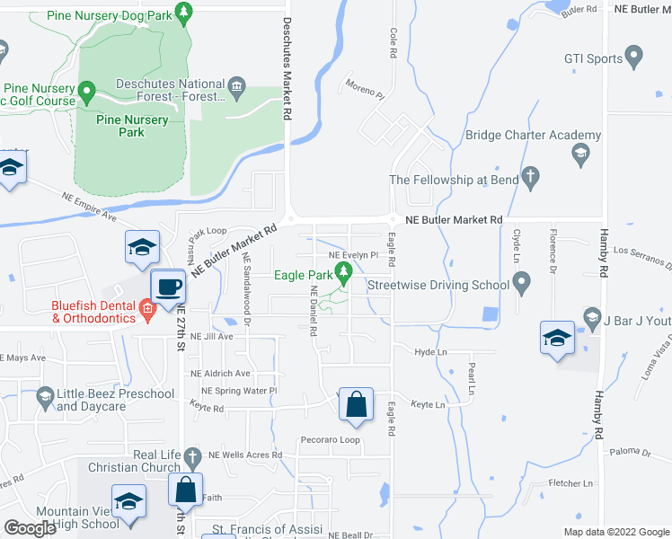 map of restaurants, bars, coffee shops, grocery stores, and more near 3020 Northeast Flagstone Avenue in Bend