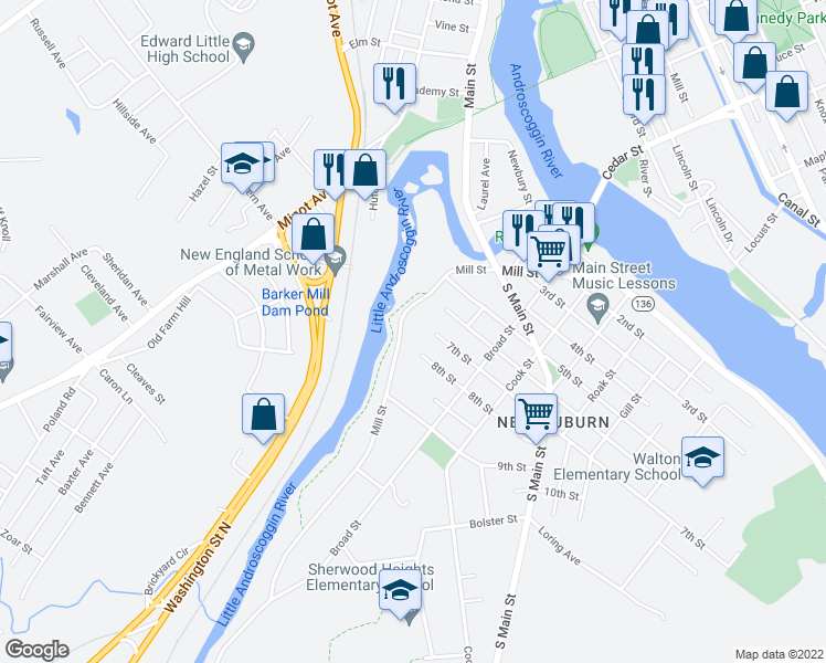 map of restaurants, bars, coffee shops, grocery stores, and more near 180 Mill Street in Auburn