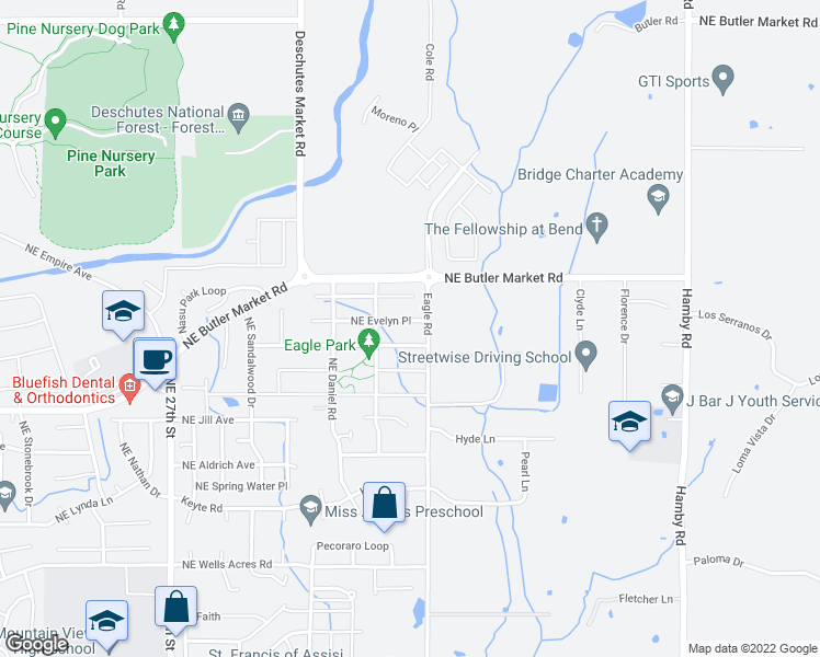 map of restaurants, bars, coffee shops, grocery stores, and more near 21393 Northeast Evelyn Place in Bend