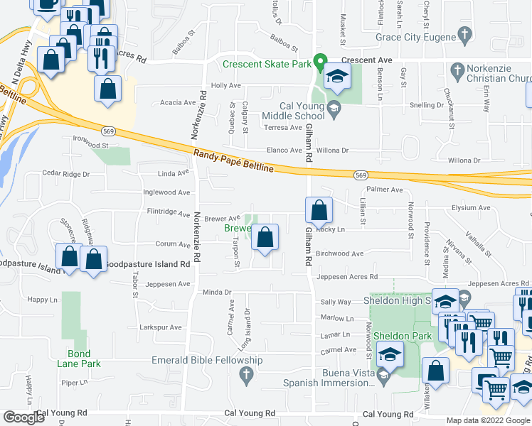 map of restaurants, bars, coffee shops, grocery stores, and more near 1875 Brewer Avenue in Eugene