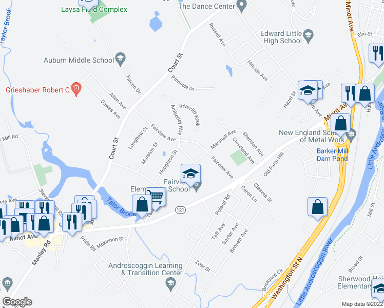 map of restaurants, bars, coffee shops, grocery stores, and more near 15 Fairview Court in Auburn
