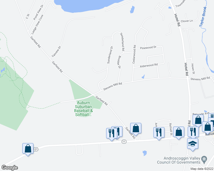 map of restaurants, bars, coffee shops, grocery stores, and more near 535 Stevens Mill Road in Auburn