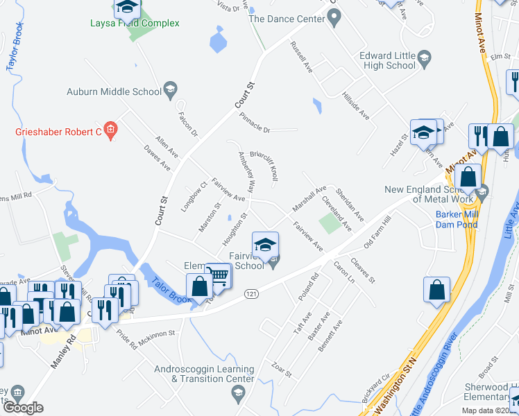 map of restaurants, bars, coffee shops, grocery stores, and more near 29 Fairview Court in Auburn