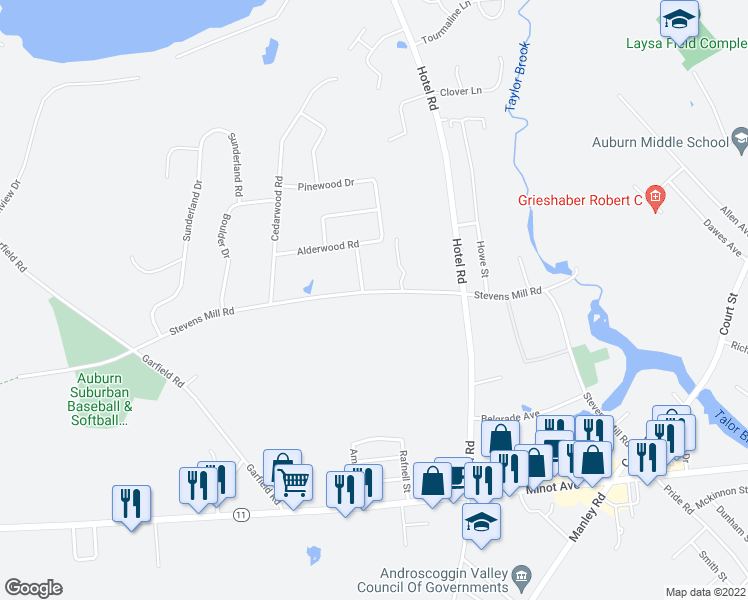 map of restaurants, bars, coffee shops, grocery stores, and more near 356 Stevens Mill Road in Auburn