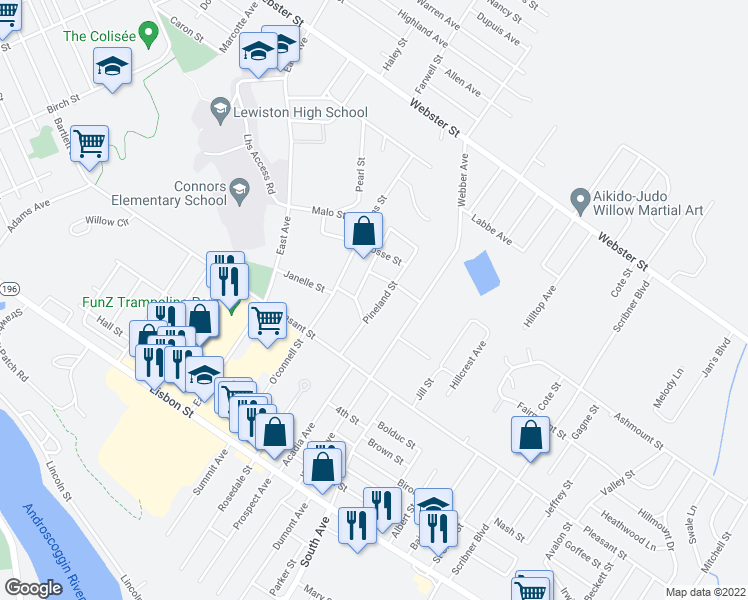 map of restaurants, bars, coffee shops, grocery stores, and more near 28 Pineland Street in Lewiston