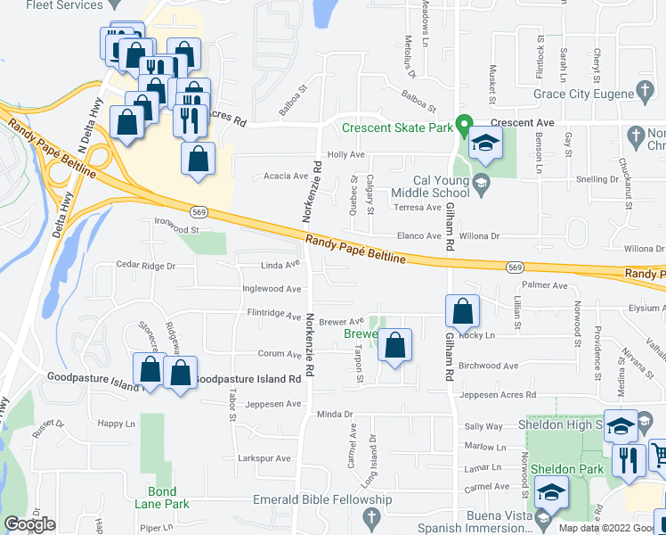 map of restaurants, bars, coffee shops, grocery stores, and more near 2250 Donovan Drive in Eugene