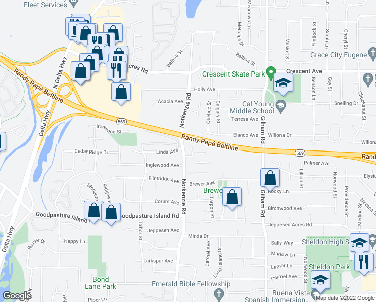 map of restaurants, bars, coffee shops, grocery stores, and more near 2293 Norkenzie Road in Eugene