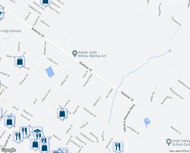 map of restaurants, bars, coffee shops, grocery stores, and more near 533 Webster Street in Lewiston