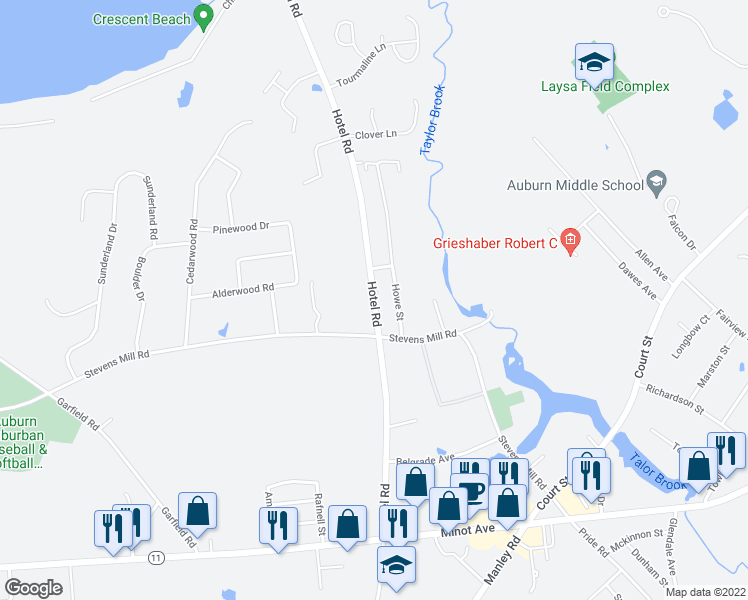map of restaurants, bars, coffee shops, grocery stores, and more near Hotel Road in Auburn