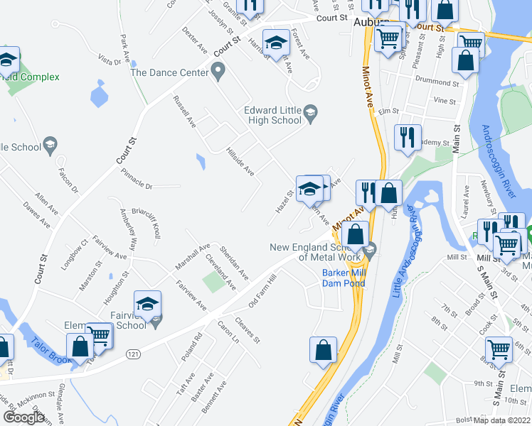 map of restaurants, bars, coffee shops, grocery stores, and more near 21 Hazel Street in Auburn