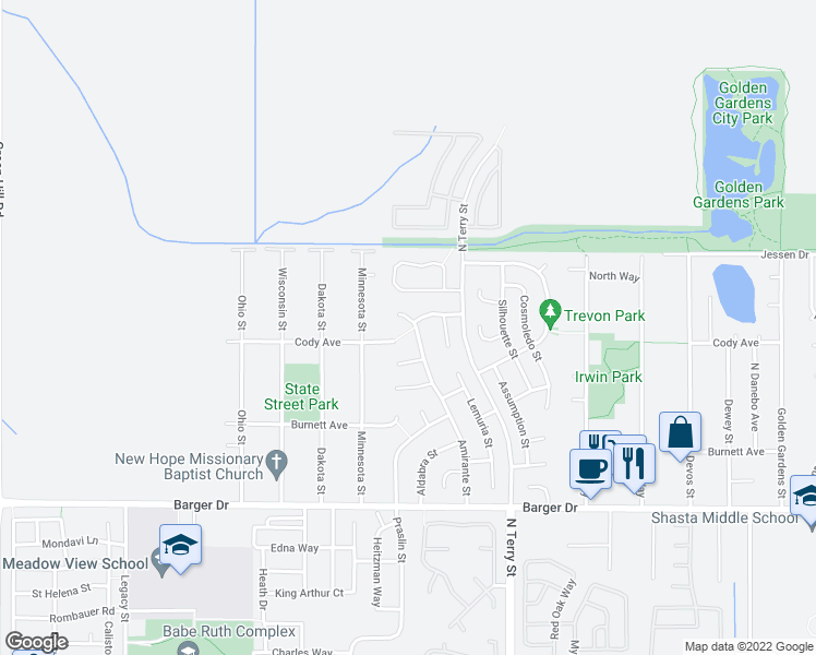 map of restaurants, bars, coffee shops, grocery stores, and more near 2196 Amirante Street in Eugene