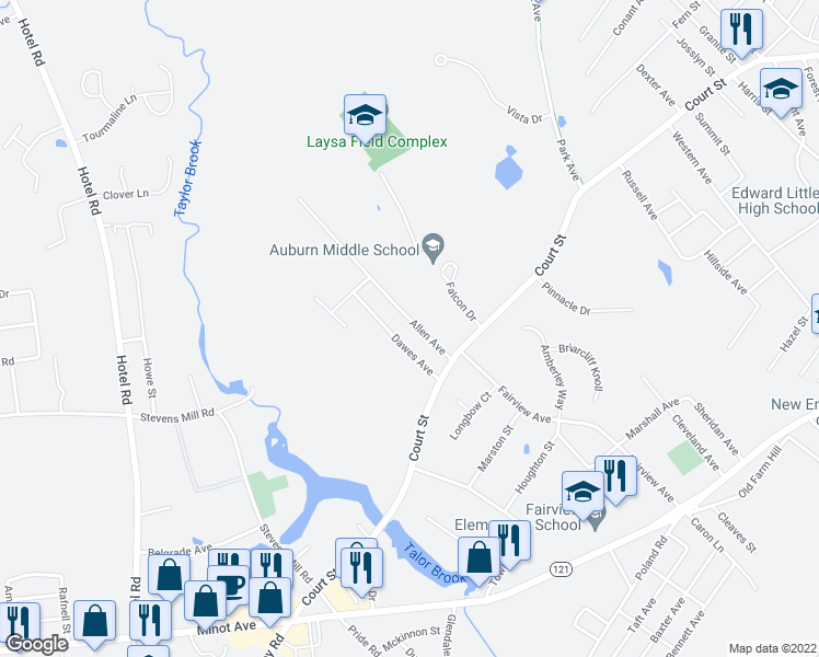 map of restaurants, bars, coffee shops, grocery stores, and more near 44 Allen Avenue in Auburn