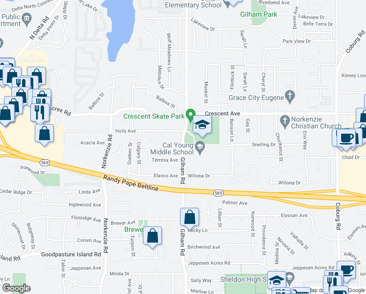 map of restaurants, bars, coffee shops, grocery stores, and more near 2555-2699 Gilham Road in Eugene