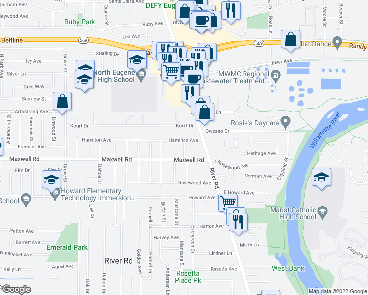 map of restaurants, bars, coffee shops, grocery stores, and more near 1725 Evergreen Drive in Eugene