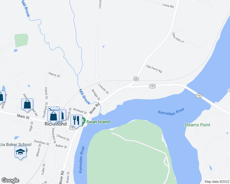 map of restaurants, bars, coffee shops, grocery stores, and more near 402 River Road in Richmond