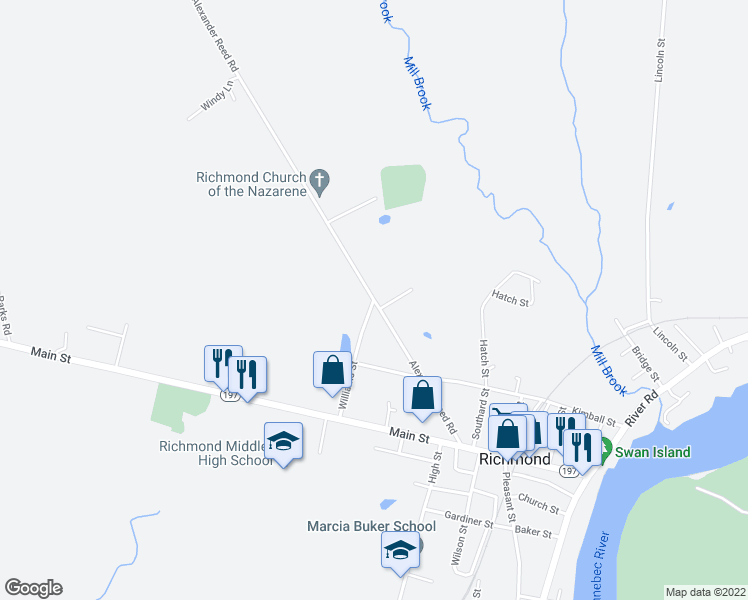 map of restaurants, bars, coffee shops, grocery stores, and more near 39 Alexander Reed Road in Richmond
