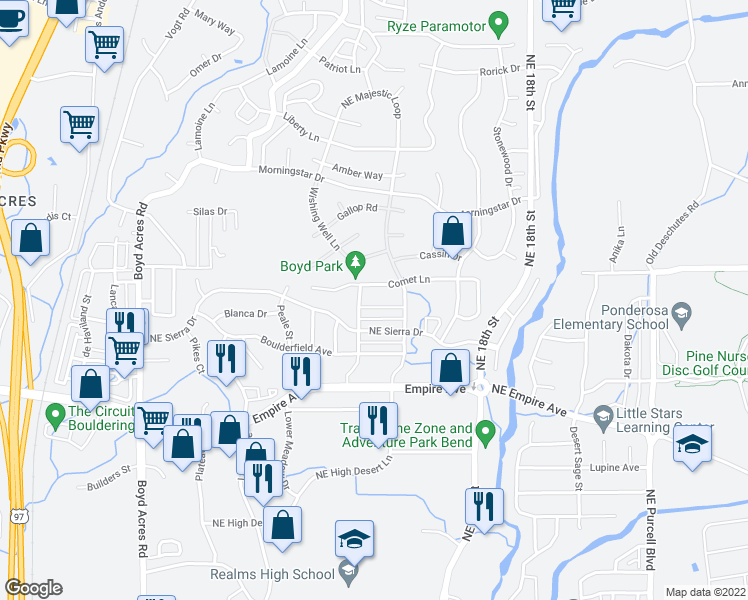 map of restaurants, bars, coffee shops, grocery stores, and more near 20768 Smoke Stack Lane in Bend