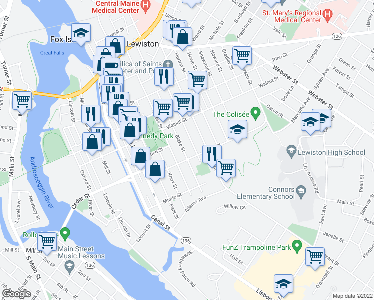 map of restaurants, bars, coffee shops, grocery stores, and more near 198 Blake Street in Lewiston