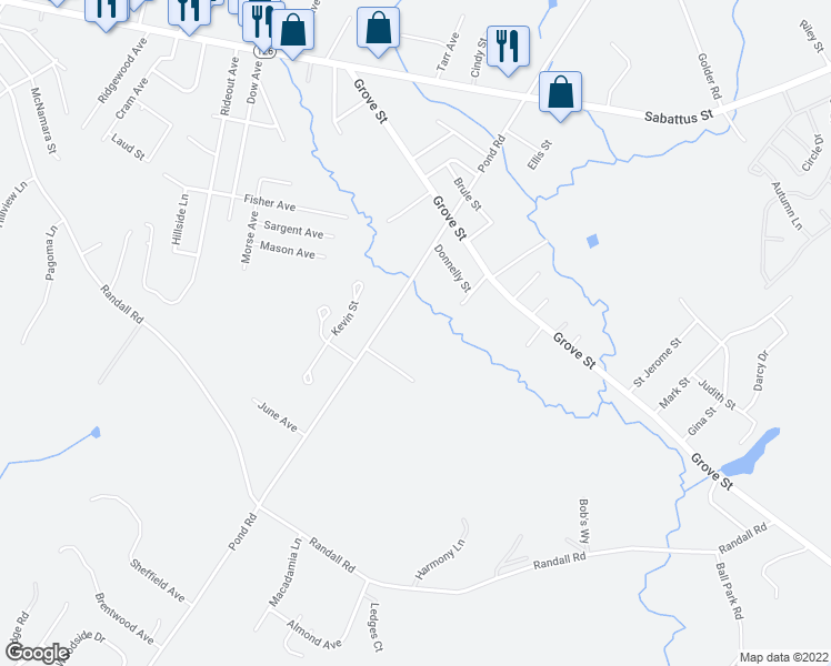map of restaurants, bars, coffee shops, grocery stores, and more near 213 Pond Road in Lewiston