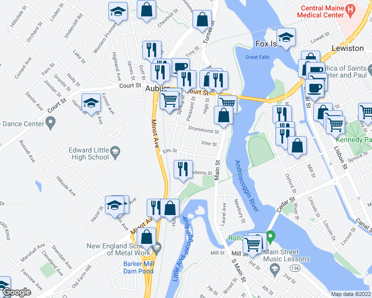 map of restaurants, bars, coffee shops, grocery stores, and more near 49 Elm Street in Auburn