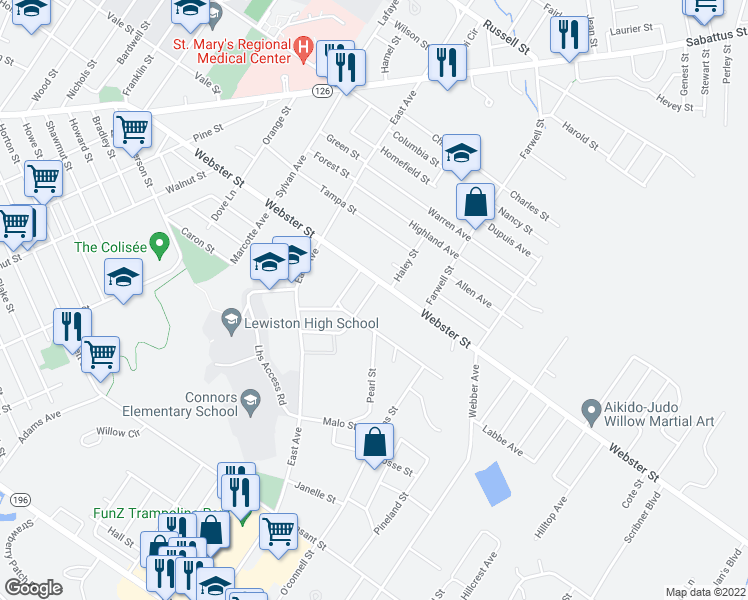 map of restaurants, bars, coffee shops, grocery stores, and more near 8 Noble Street in Lewiston