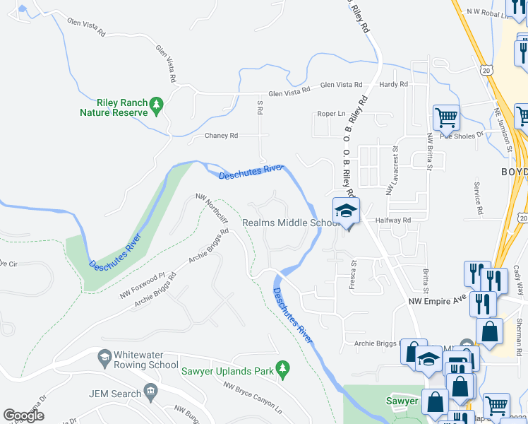 map of restaurants, bars, coffee shops, grocery stores, and more near 4070 Northwest Lower Village Road in Bend