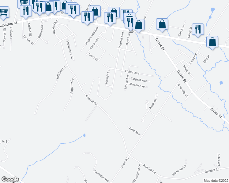 map of restaurants, bars, coffee shops, grocery stores, and more near 142 Rideout Avenue in Lewiston