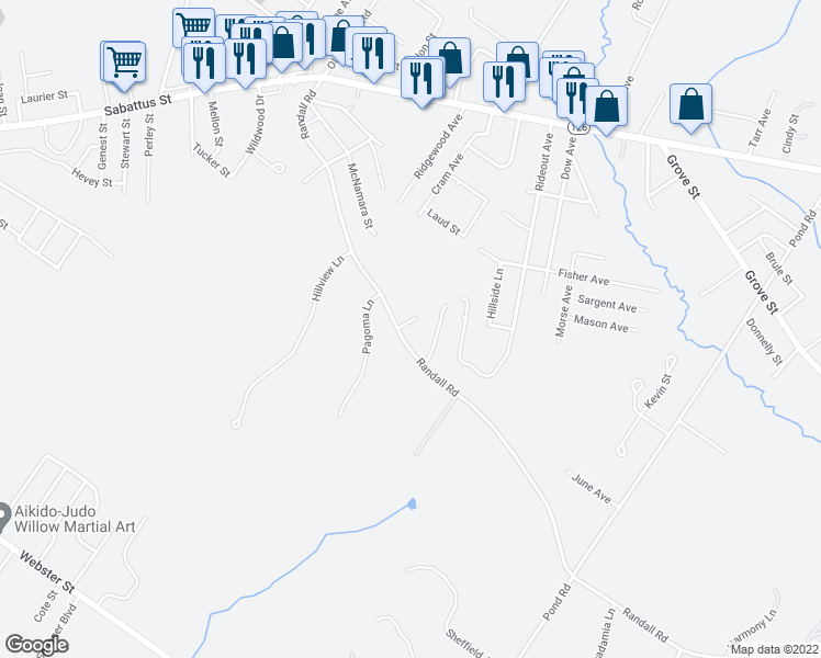 map of restaurants, bars, coffee shops, grocery stores, and more near 1 Sunrise Lane in Lewiston