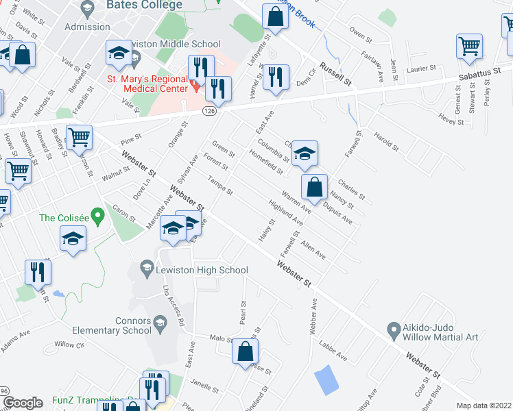 map of restaurants, bars, coffee shops, grocery stores, and more near 70 Tampa Street in Lewiston