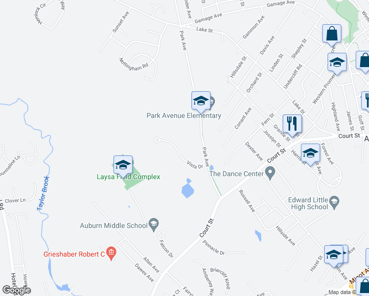map of restaurants, bars, coffee shops, grocery stores, and more near 65 Vista Drive in Auburn