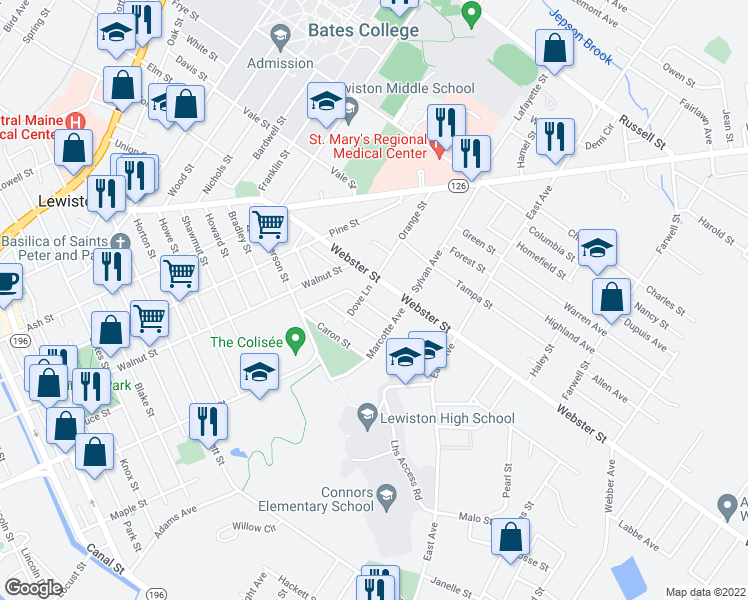 map of restaurants, bars, coffee shops, grocery stores, and more near 36 Barron Avenue in Lewiston