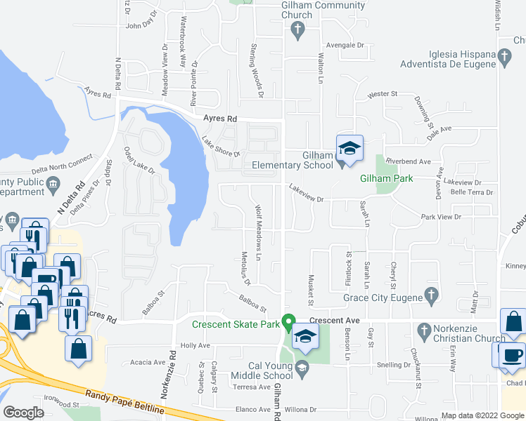 map of restaurants, bars, coffee shops, grocery stores, and more near 3151 Wolf Meadows Lane in Eugene