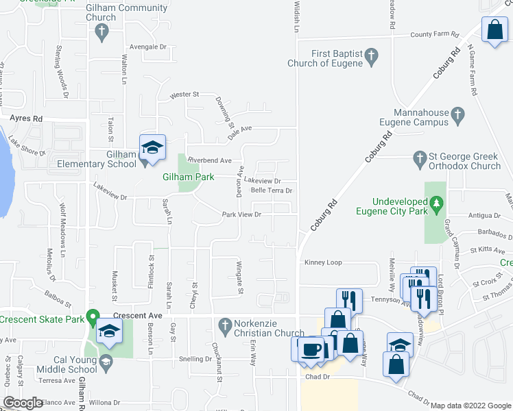 map of restaurants, bars, coffee shops, grocery stores, and more near 2422 Belle Terra Drive in Eugene