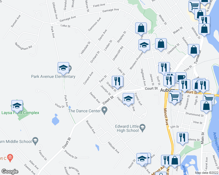 map of restaurants, bars, coffee shops, grocery stores, and more near 14 Granite Street in Auburn