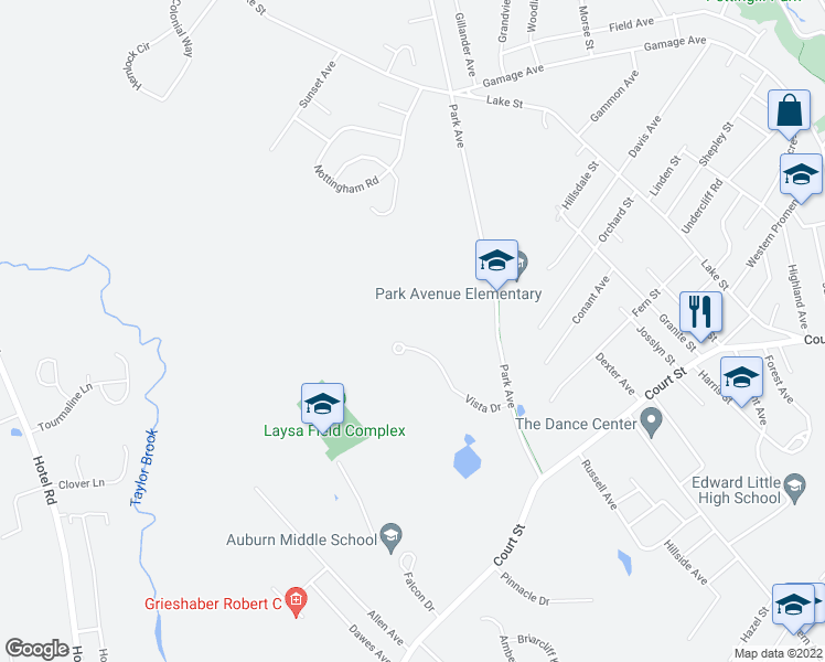 map of restaurants, bars, coffee shops, grocery stores, and more near 99 Vista Drive in Auburn