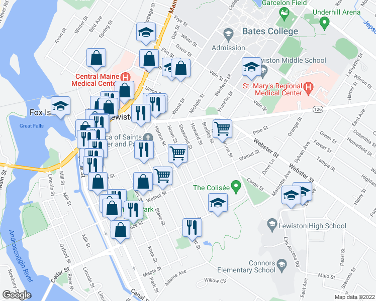 map of restaurants, bars, coffee shops, grocery stores, and more near 53 Shawmut Street in Lewiston