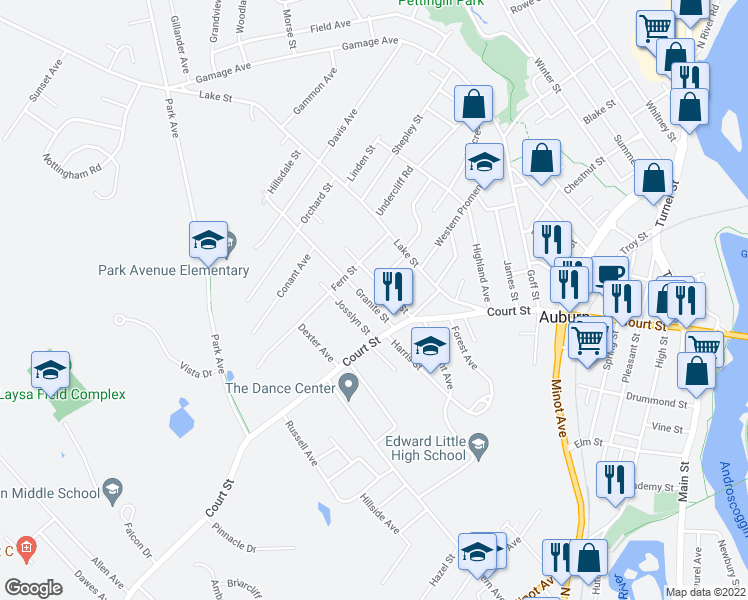 map of restaurants, bars, coffee shops, grocery stores, and more near 13 Granite Street in Auburn