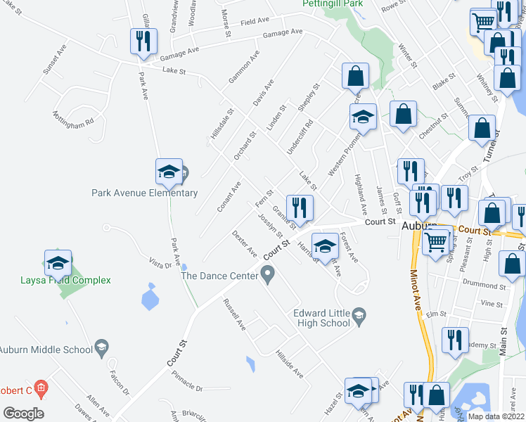 map of restaurants, bars, coffee shops, grocery stores, and more near 25 Josslyn Street in Auburn