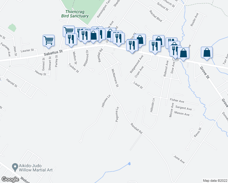 map of restaurants, bars, coffee shops, grocery stores, and more near 142 Randall Road in Lewiston