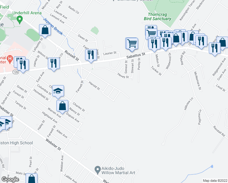 map of restaurants, bars, coffee shops, grocery stores, and more near 4 Holy Family Street in Lewiston